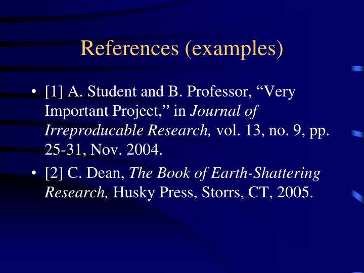 References (examples)