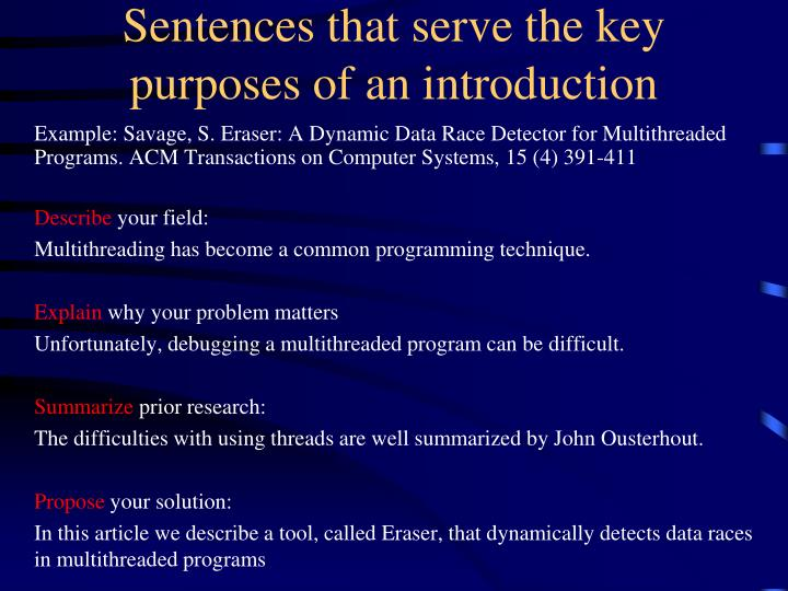 Sentences that serve the key purposes of an introduction
