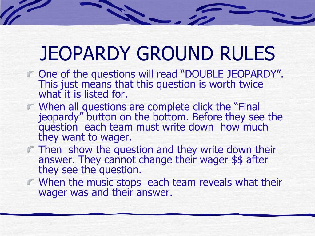PPT - How to make this Jeopardy game work PowerPoint