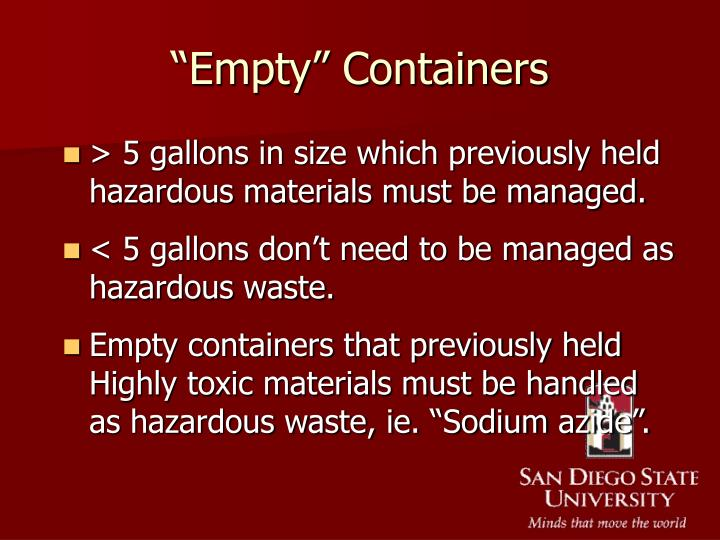 """""""Empty"""" Containers"""