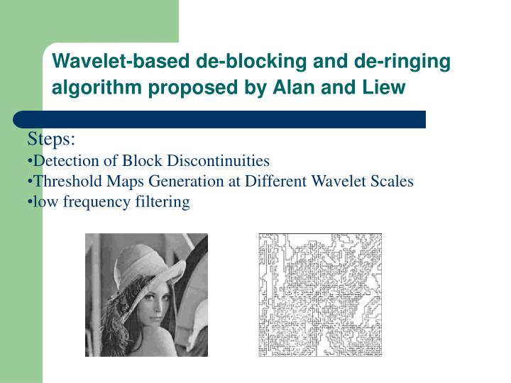 Wavelet-based de-blocking and de-ringing algorithm proposed by Alan and Liew