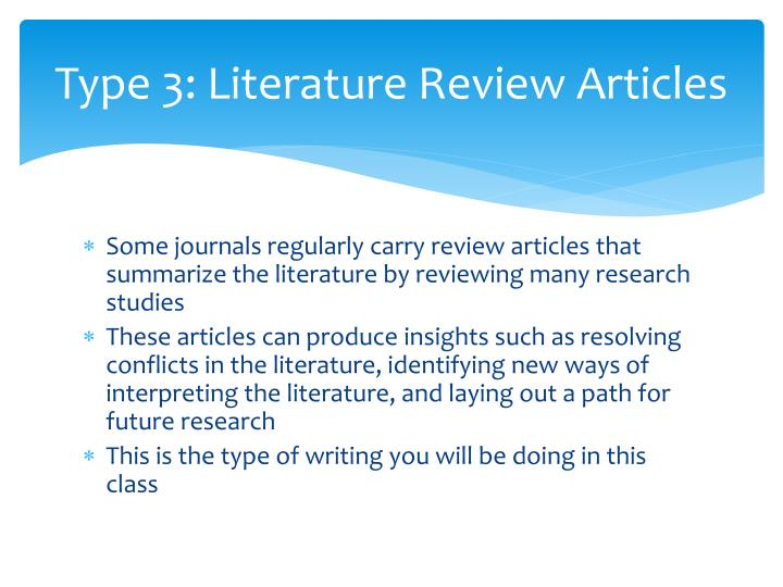 Type 3: Literature Review Articles