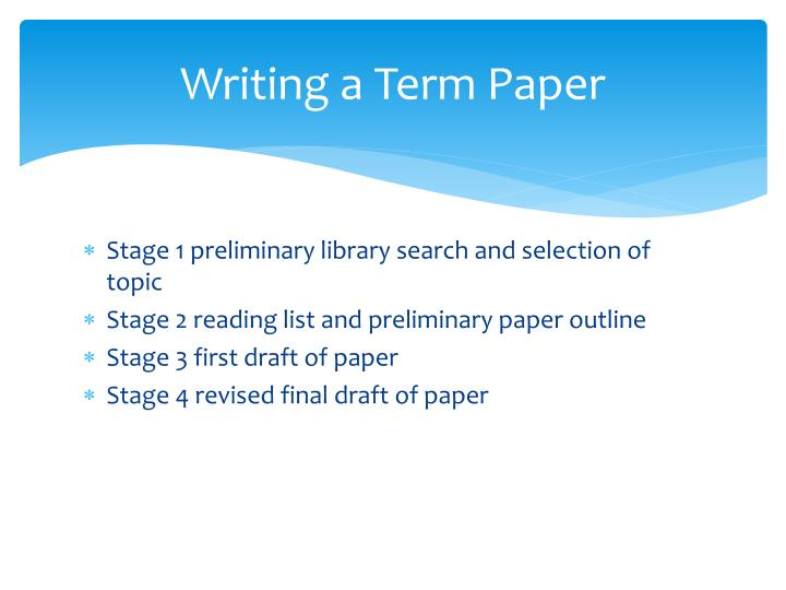 Writing a Term Paper