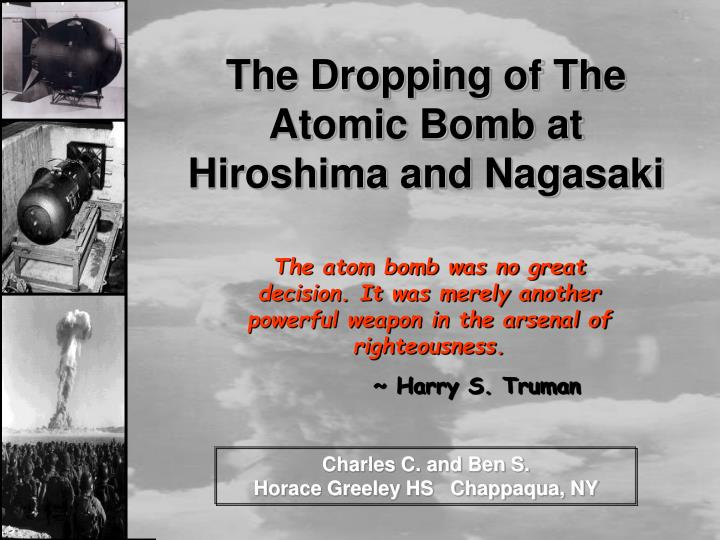the dropping of the atomic bomb at hiroshima and nagasaki n.