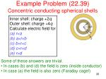 example problem 22 39 concentric conducting spherical shells