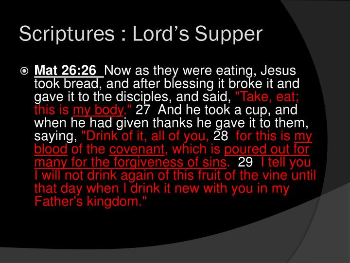 Scriptures lord s supper