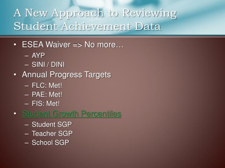 A new approach to reviewing student achievement data