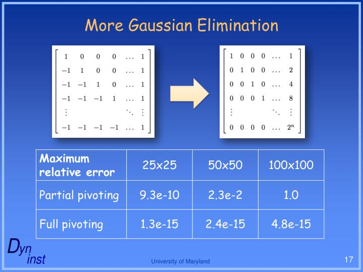 More Gaussian Elimination
