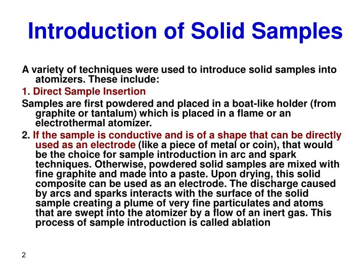 Introduction of solid samples