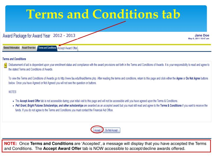 Terms and Conditions tab