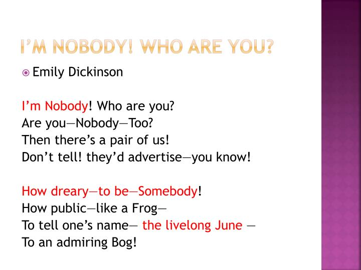 I'm nobody! Who are you?