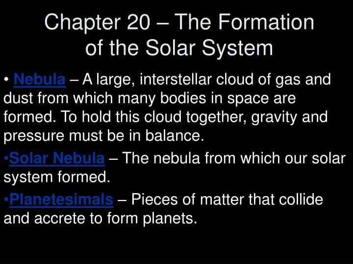 chapter 20 the formation of the solar system n.