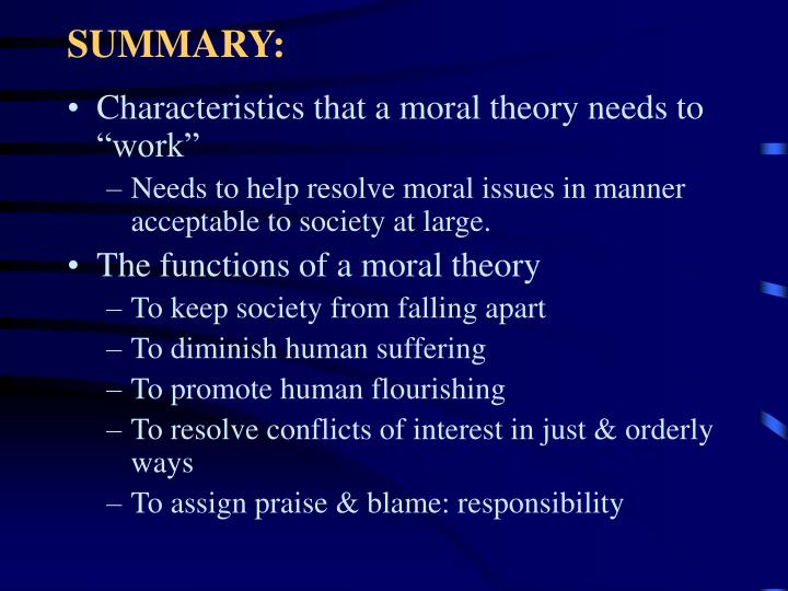 satisfactory moral theory essays