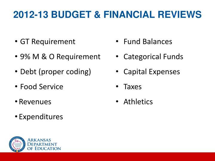 2012-13 BUDGET & FINANCIAL REVIEWS