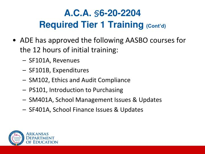 A c a 6 20 2204 required tier 1 training cont d