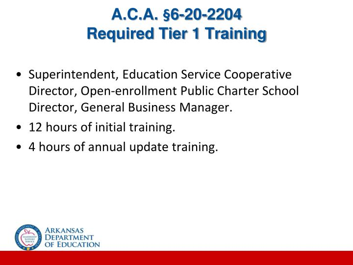 A c a 6 20 2204 required tier 1 training