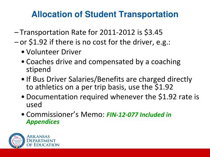 Allocation of Student Transportation