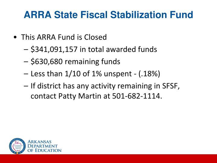 ARRA State Fiscal Stabilization Fund