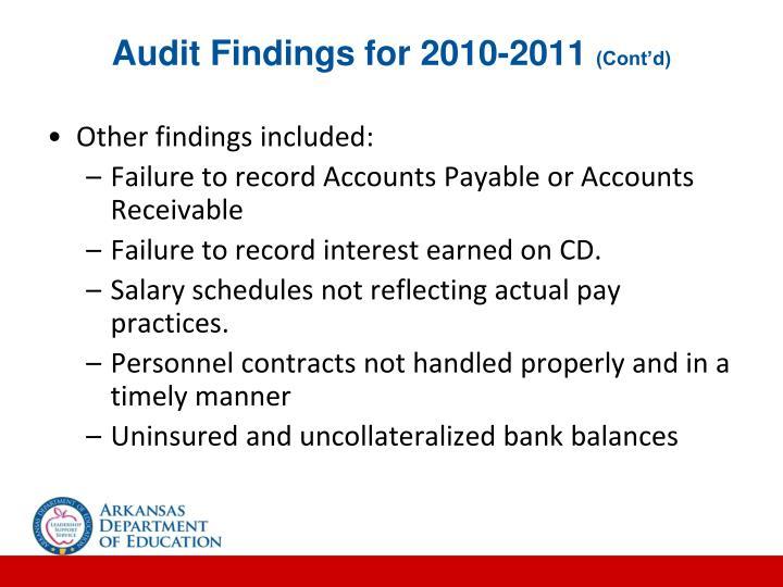 Audit Findings for 2010-2011