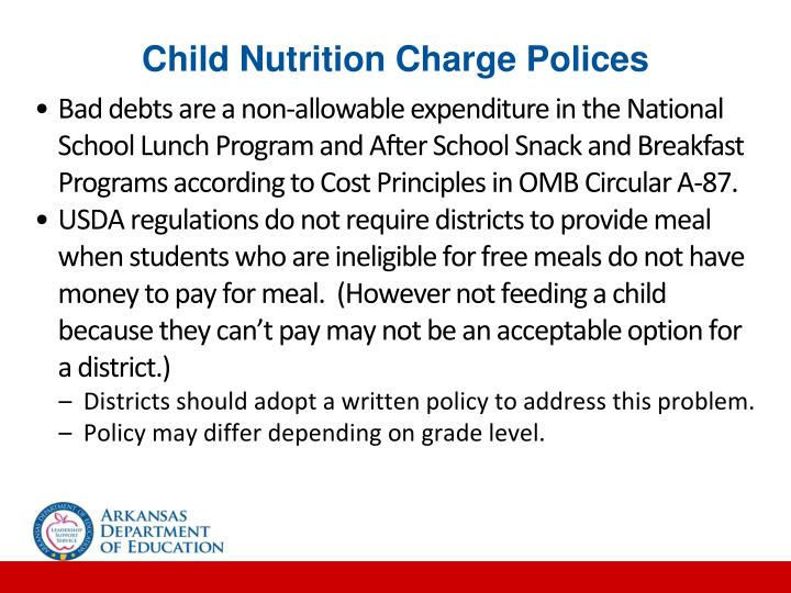 Child Nutrition Charge Polices