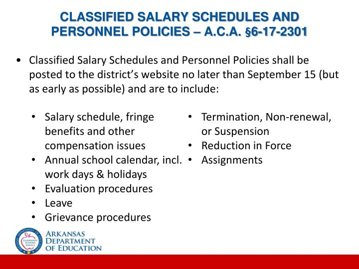 CLASSIFIED SALARY SCHEDULES AND PERSONNEL POLICIES – A.C.A. §6-17-2301