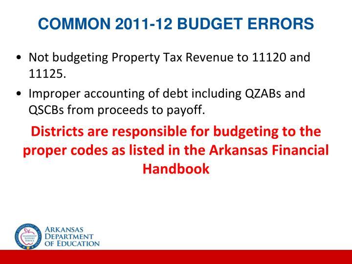 Common 2011-12 Budget Errors