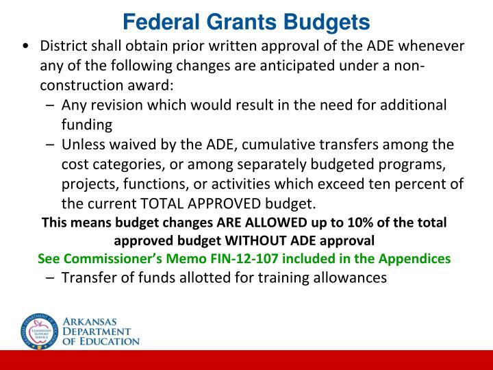 Federal Grants Budgets