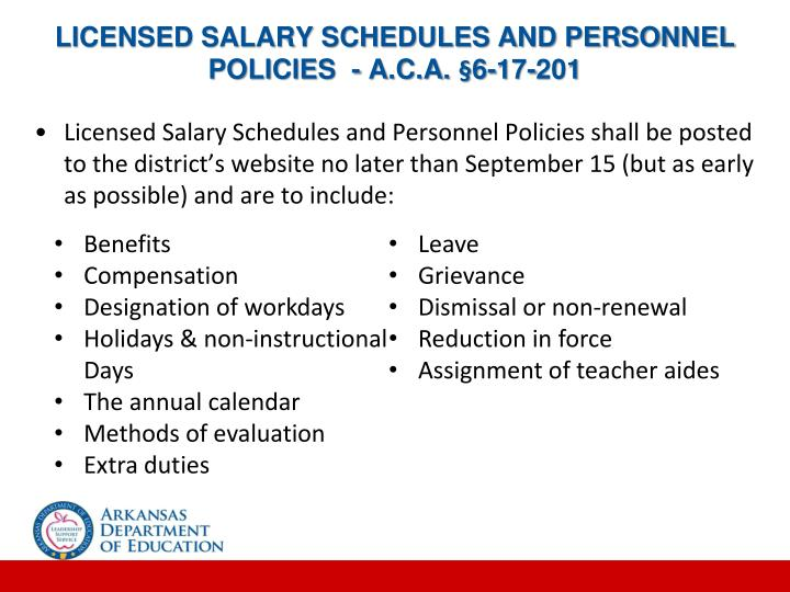 LICENSED SALARY SCHEDULES AND PERSONNEL POLICIES  - A.C.A. §6-17-201