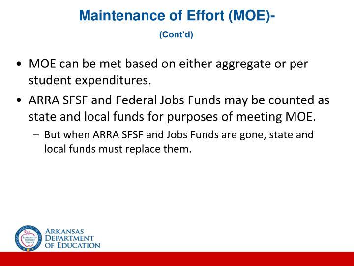 Maintenance of Effort (MOE)-