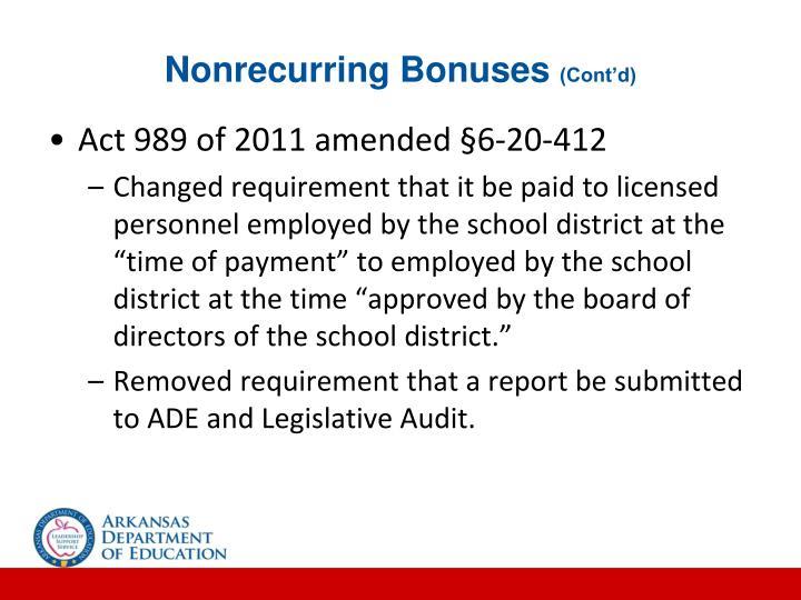 Nonrecurring Bonuses