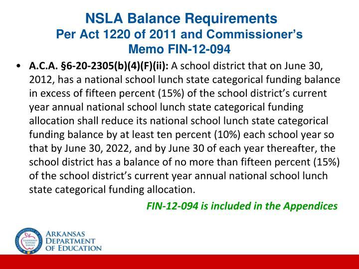 NSLA Balance Requirements