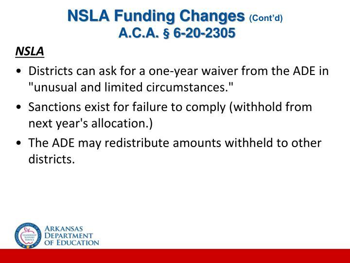 NSLA Funding Changes