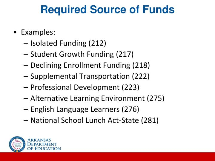 Required Source of Funds