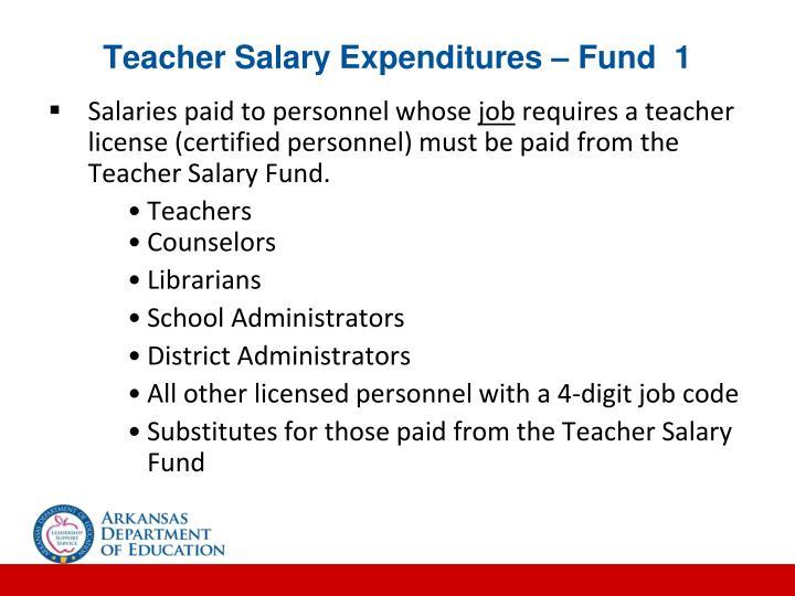 Teacher Salary Expenditures – Fund  1