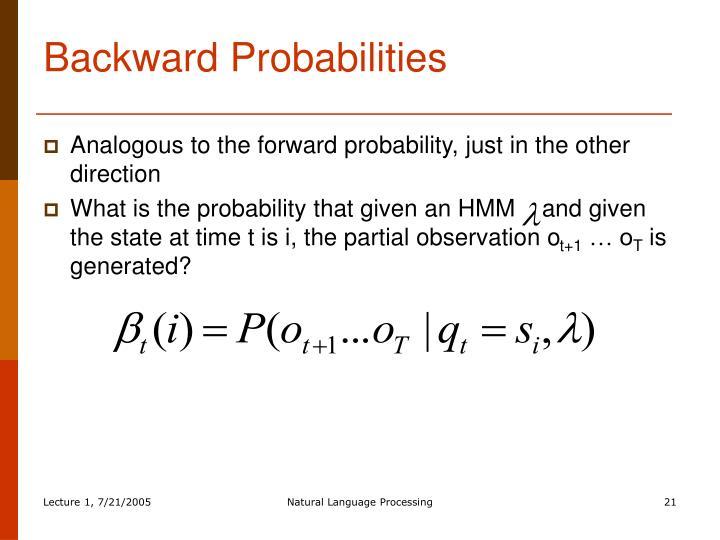 Backward Probabilities