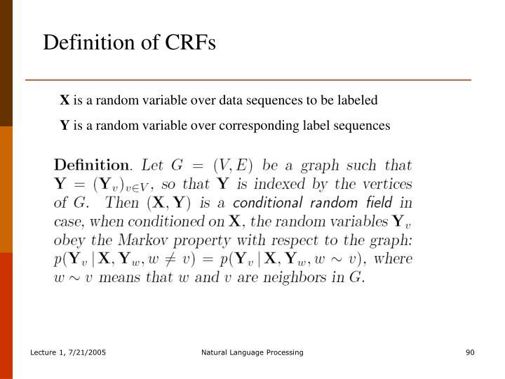 Definition of CRFs