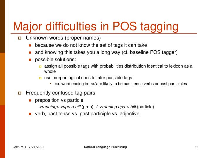 Major difficulties in POS tagging