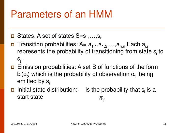 Parameters of an HMM