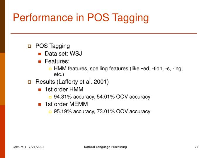Performance in POS Tagging