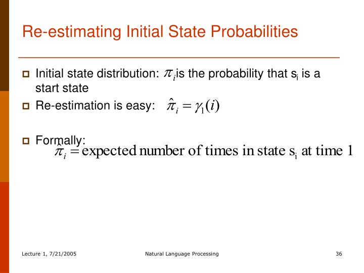 Re-estimating Initial State Probabilities
