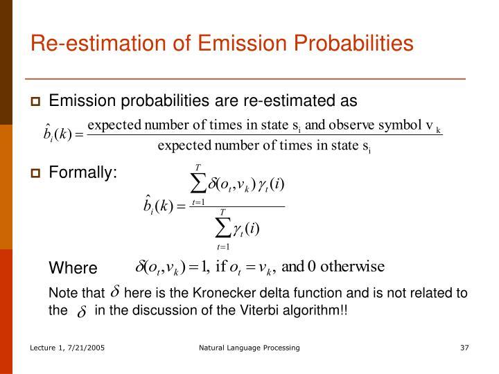 Re-estimation of Emission Probabilities
