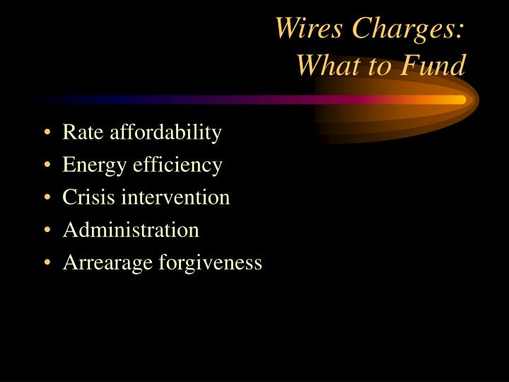 Wires charges what to fund