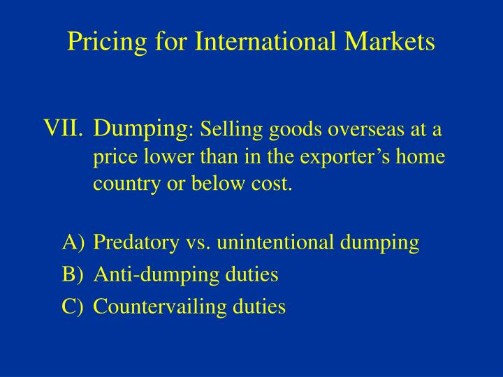 Pricing for International Markets