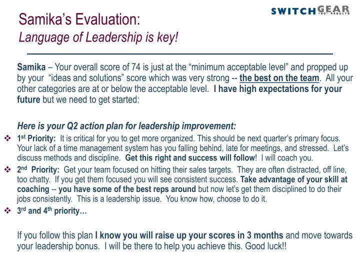 Samika's Evaluation: