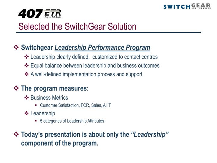 Selected the SwitchGear Solution