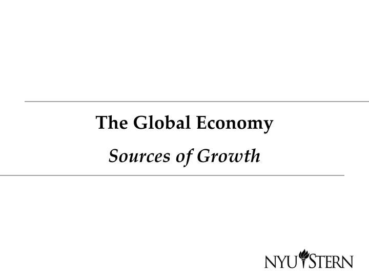 the global economy sources of growth n.