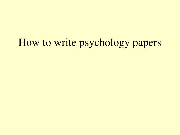 How to write psychology essays