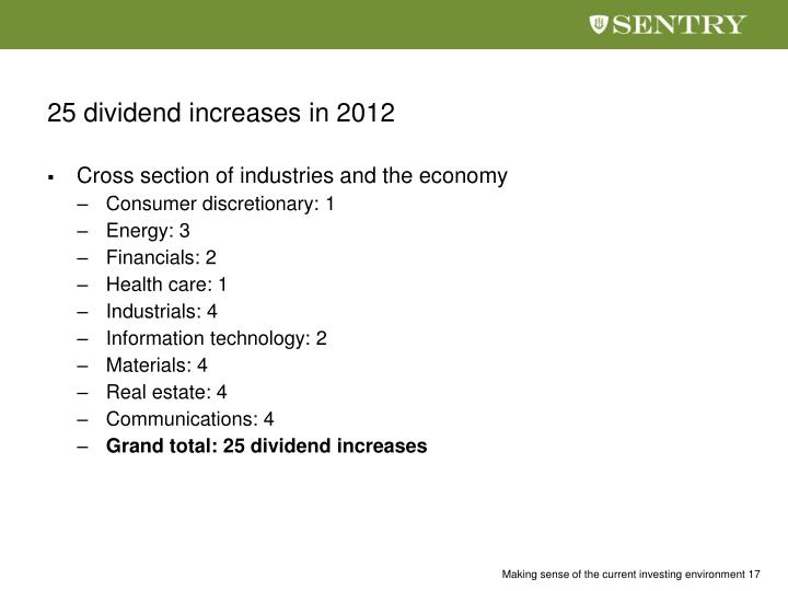 25 dividend increases in 2012