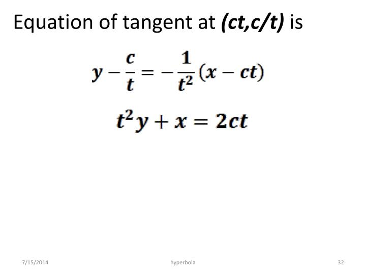 Equation of tangent at