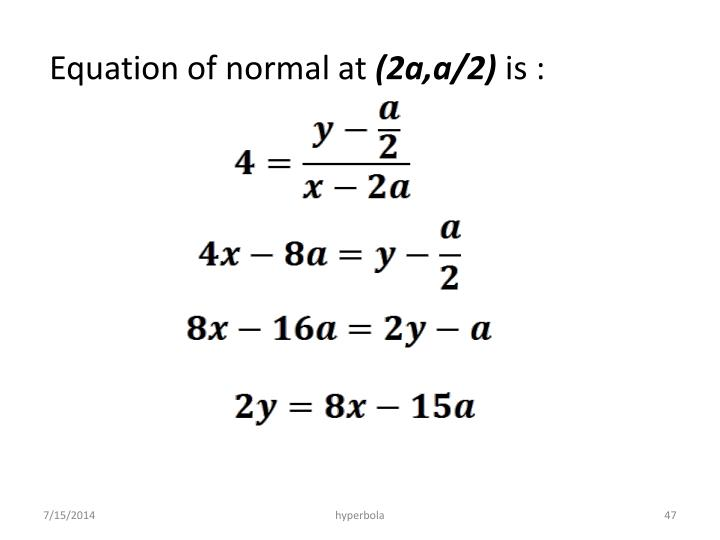 Equation of normal at